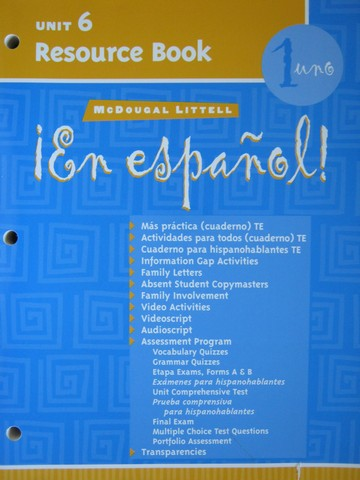 En espanol! 1uno Unit 6 Resource Book (P)