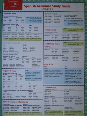 Spanish Grammar Study Guide Levels 3 & 4 (Card)
