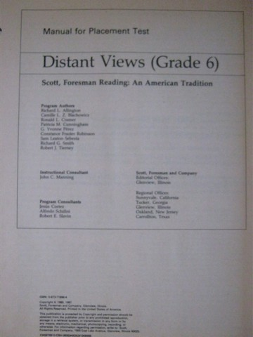 Reading 11 Distant Views Placement Test Manual (P) by Allington,