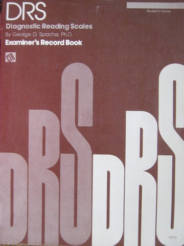 DRS Examiner's Record Book (P) by George D Spache