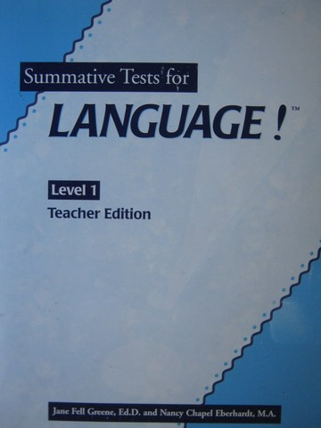 Language! 2nd Edition Level 1 Summative Tests TE (TE)(P)