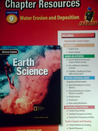glencoe earth science chapter resources 9 water erosion p 0078269393 k 12. Black Bedroom Furniture Sets. Home Design Ideas