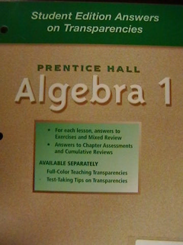 Algebra 1 Student Edition Answers on Transparencies (P)