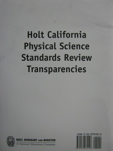 California Physical Science Standards Review Transparencies (Pk)