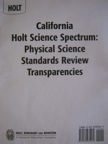 Science Spectrum Physical Science Standards Review (CA)(Pk)