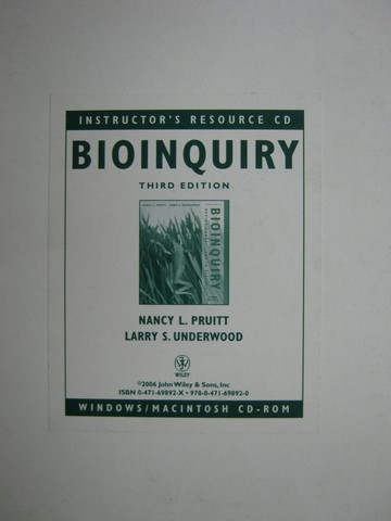 Bioinquiry 3rd Edition Instructor's Resource CD (TE)(CD)