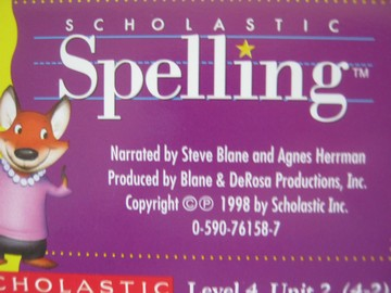 Scholastic Spelling 4 Audio Cassettes Pack (Pk) by Blane,