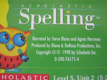 Scholastic Spelling 5 Audio Cassettes Pack (Pk) by Blane,