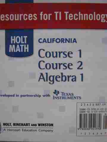 California Mathematics Resources for TI Technology (CD)
