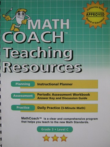 MathCoach Grade 3 Level C Teaching Resources (CA)(Spiral)