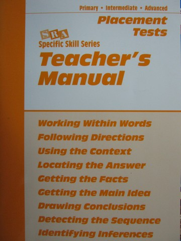 Specific Skill Series 5e Placement Tests TM (TE)(P) by Boning