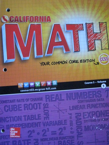 California Math Course 3 Common Core Volume 1 (CA)(P)