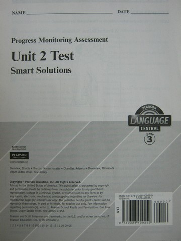 Pearson Language Central 3 Unit 2 Test (P)