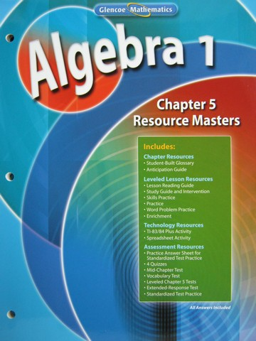 Glencoe Algebra 1 Chapter 5 Resource Masters (P)