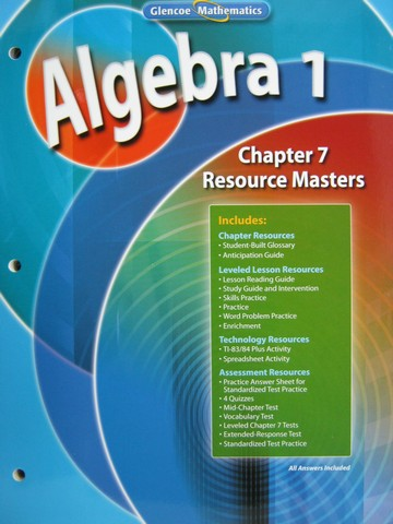 Glencoe Algebra 1 Chapter 7 Resource Masters (P)