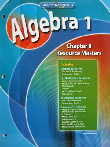 Glencoe Algebra 1 Chapter 8 Resource Masters P 0078739519