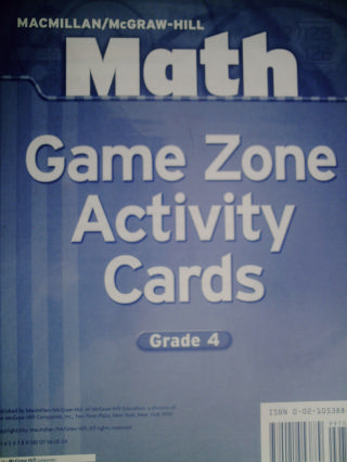 Math 4 Game Zone Activity Cards (PK)