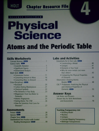 Science Spectrum Physical Science Chapter Resource File 4 P