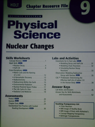 Science Spectrum Physical Science Chapter Resource File 9 (P)