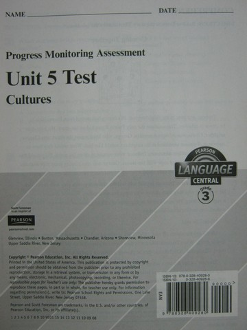 Pearson Language Central 3 Unit 5 Test (P)