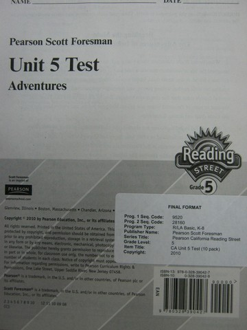 Reading Street 5.5 Test Adventures (P)