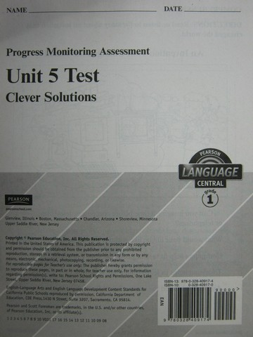 Pearson Language Central 1 Unit 5 Test (P)