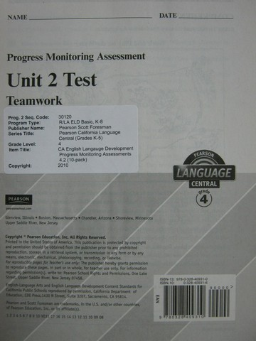 Pearson Language Central 4 Unit 2 Test (P)