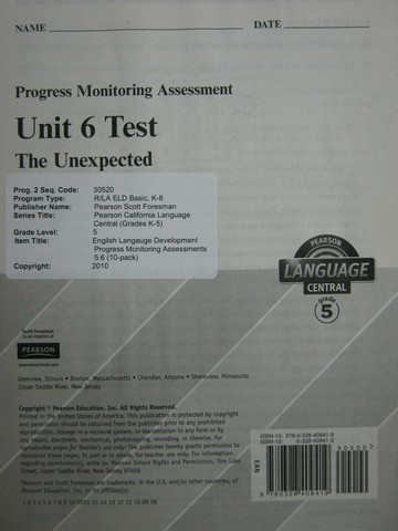 Pearson Language Central 5 Unit 6 Test (P)