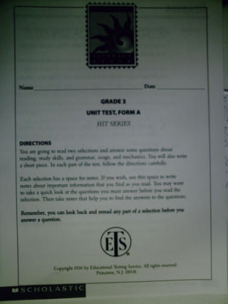 Literacy Place 3-4 Hit Series Unit Test Form A (P)