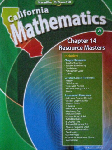 California Mathematics 4 Chapter 14 Resource Masters (CA)(P)