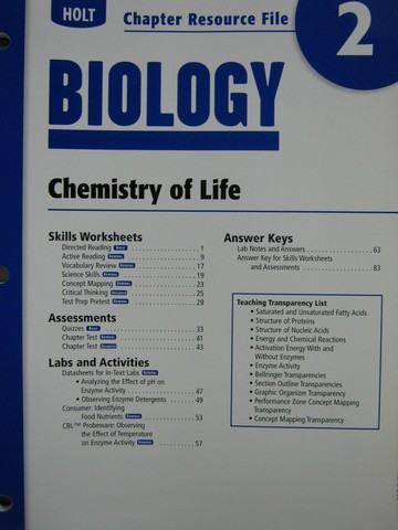 Holt Biology Chapter Resource File 2 P 0030413621