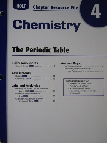 Holt Chemistry Chapter Resource File 4 (P) [0030414377 ...