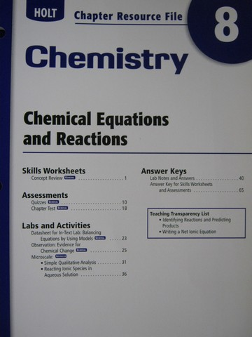 Holt Chemistry Chapter Resource File 7 P 0030414423