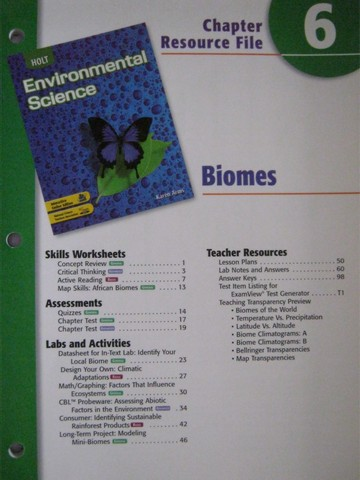 Holt Environmental Science Chapter Resource File 6 P