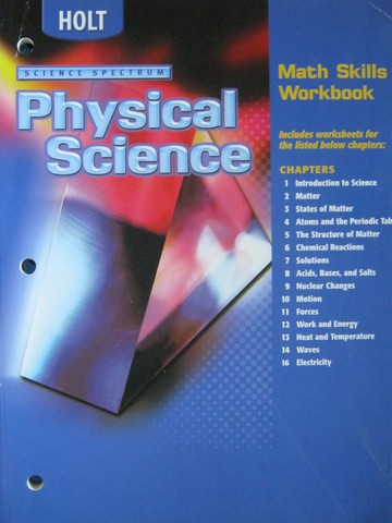 science spectrum physical science math skills workbook p 0030670845 k 12 quality. Black Bedroom Furniture Sets. Home Design Ideas