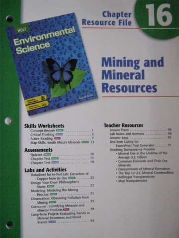 Holt Environmental Science Chapter Resource File 16 P