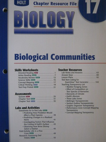 Holt Biology Chapter Resource File 17 (P)