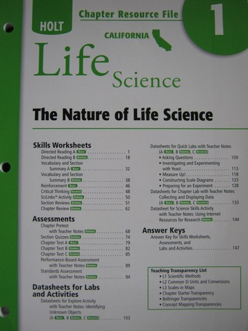 California Life Science Chapter Resource File 1 (CA)(P)