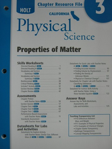 California Physical Science Chapter Resource File 3 (CA)(P)