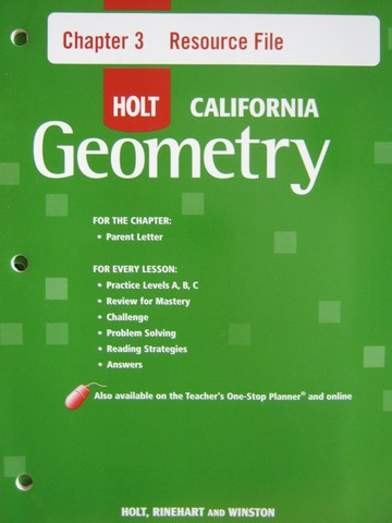California Geometry Chapter 3 Resource File (CA)(P)