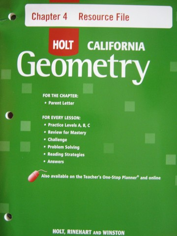 California Geometry Chapter 4 Resource File (CA)(P)