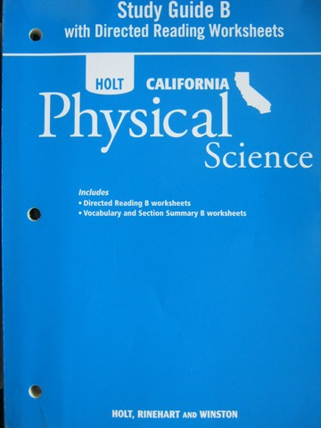 california physical science study guide b ca p 0030993989 rh textbooknbeyond com Holt California Physical Science Edition Holt California Science Eukaryotic Cells for 7th Graders