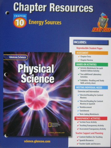 Glencoe Physical Science Chapter Resources 10 Energy Sources (P ...