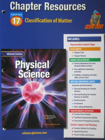 Glencoe Physical Science Chapter Resources 17 Classification