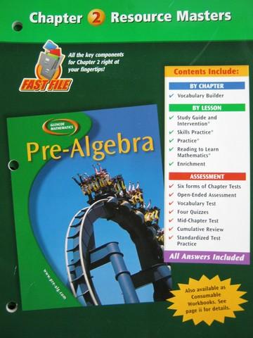 Glencoe Mathematics Pre-Algebra Chapter 2 Resource Masters