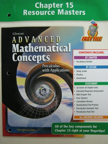 Advanced Mathematical Concepts Chapter 15 Resource (P)