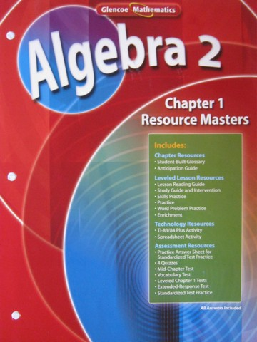 Glencoe Algebra 2 Chapter 1 Resource Masters (P)