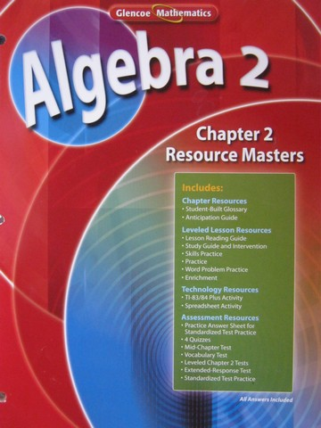 Glencoe Algebra 2 Chapter 2 Resource Masters (P)