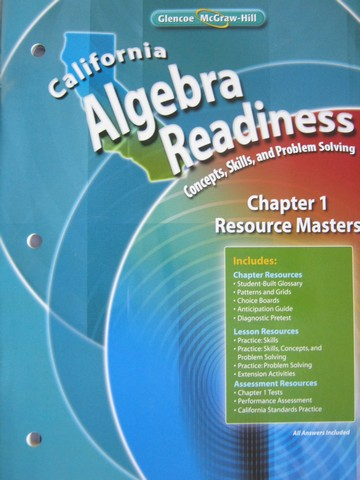 California Algebra Readiness Chapter 1 Resource Masters (CA)(P) - Click Image to Close