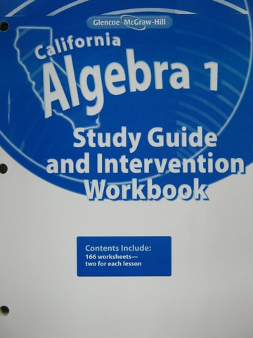 California Algebra 1 Study Guide Intervention Workbook CA